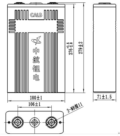 Dimension of 180Ah lithium prismatic cells